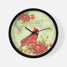 Vintage Christmas Cardinal Wall Clock