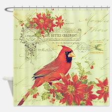Vintage Christmas Cardinal Shower Curtain