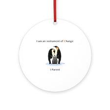 Instruments of Change Penguin Parents Round Orname