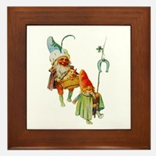 Gnomes with a Baby Pig Framed Tile