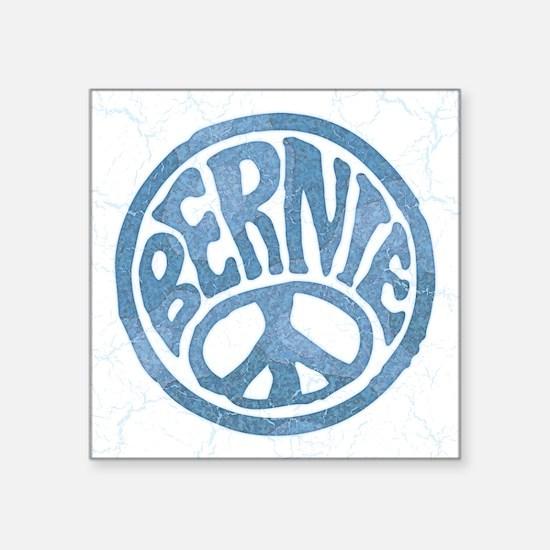 "60s Peace Bernie Square Sticker 3"" x 3"""
