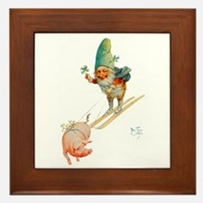 Gnome Skiing with a Pig Framed Tile