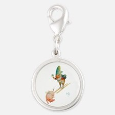 Gnome Skiing with a Pig Silver Round Charm
