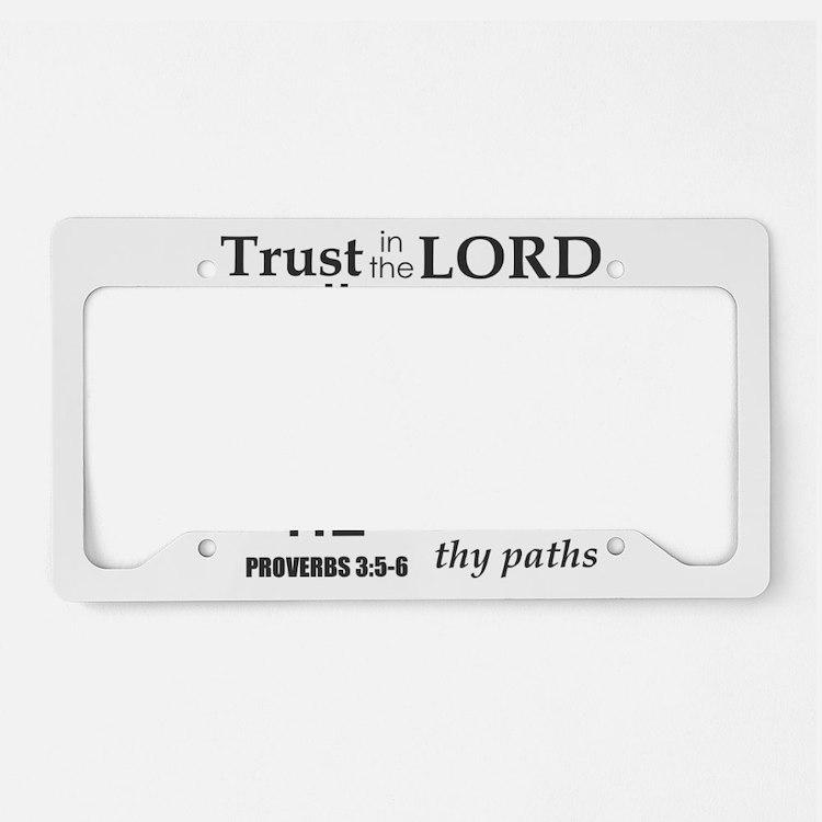 Proverbs 3:5-6 KJV Dark Gray License Plate Holder