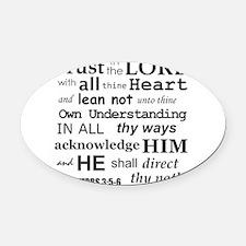 Proverbs 3:5-6 KJV Dark Gray Print Oval Car Magnet