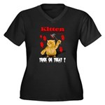 Kitten Trick or Treat ? Women's Plus Size V-Neck D