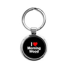 Morning Wood Round Keychain