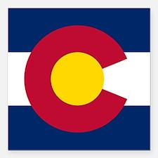 "Colorado state flag Auth Square Car Magnet 3"" x 3"""