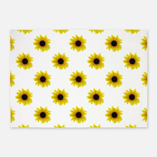 Pretty Yellow Sunflower Pattern 5'x7'Area Rug