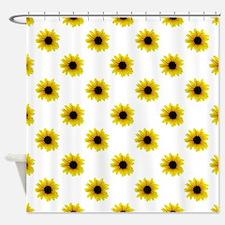 Pretty Yellow Sunflower Pattern Shower Curtain