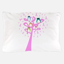 Aviator Owls in a Pink Ribbon Tree Pillow Case
