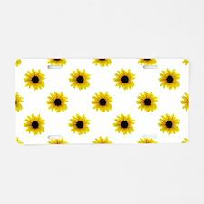 Pretty Yellow Sunflower Pat Aluminum License Plate