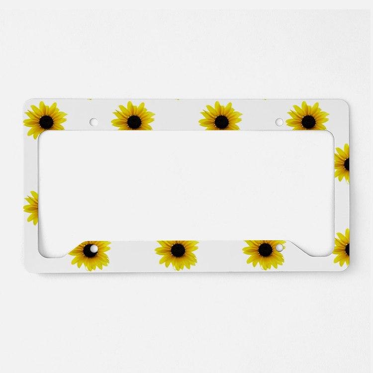 Pretty Yellow Sunflower Patte License Plate Holder