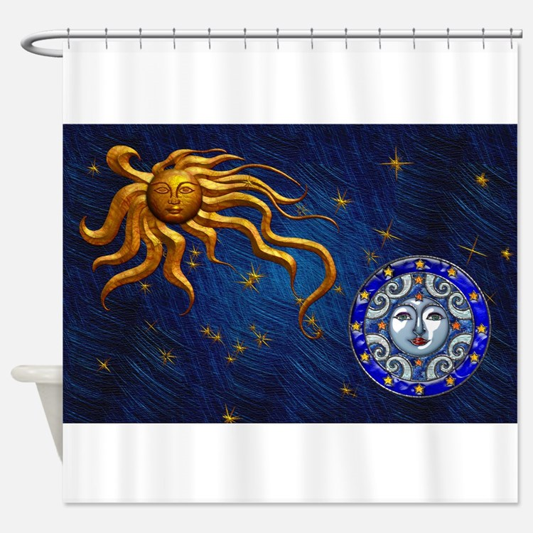 Celestial shower curtains celestial fabric shower for Sun moon fabric