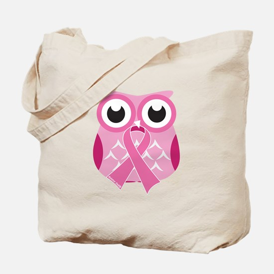 Pink Owl with Pink Ribbon Tote Bag