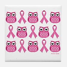 Patterned Pink Ribbon Owls Tile Coaster