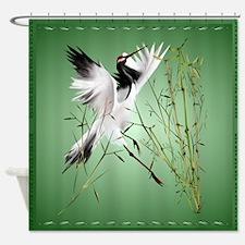 One Crane In Bamboo Shower Curtain
