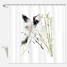 One Crane In Bamboo Shower Curtain