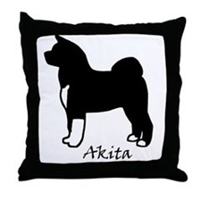 Black And White Akita Throw Pillow