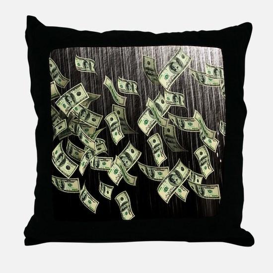 Raining Cash Money Throw Pillow