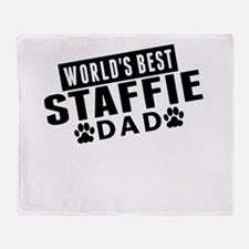 Worlds Best Staffie Dad Throw Blanket