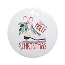 Holly Christmas Round Ornament