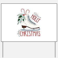 Holly Christmas Yard Sign