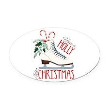 Holly Christmas Oval Car Magnet