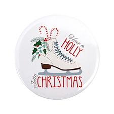 Holly Christmas Button