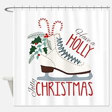 Holly Christmas Shower Curtain