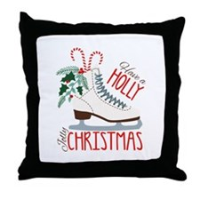 Holly Christmas Throw Pillow