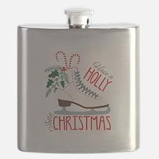 Holly Christmas Flask
