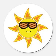 Sun With Glasses Round Car Magnet