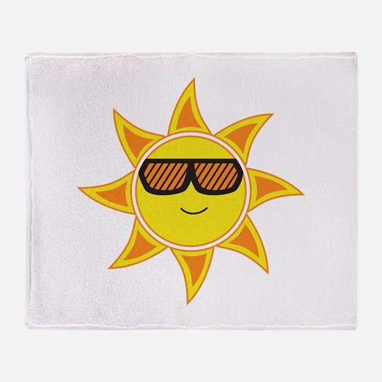 Sun With Glasses Throw Blanket
