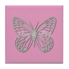 Silver Grey Butterfly Pink Tile Coaster