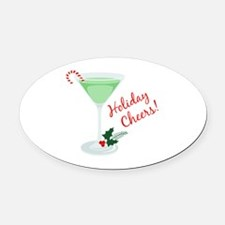 Holiday Cheers Oval Car Magnet