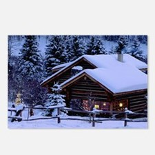 Log Cabin During Christmas Postcards (Package of 8