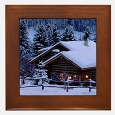 Log Cabin During Christmas Framed Tile