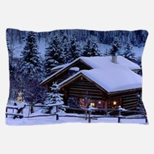Log Cabin During Christmas Pillow Case