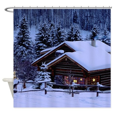 Log Cabin During Christmas Shower Curtain