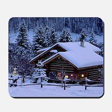 Log Cabin During Christmas Mousepad