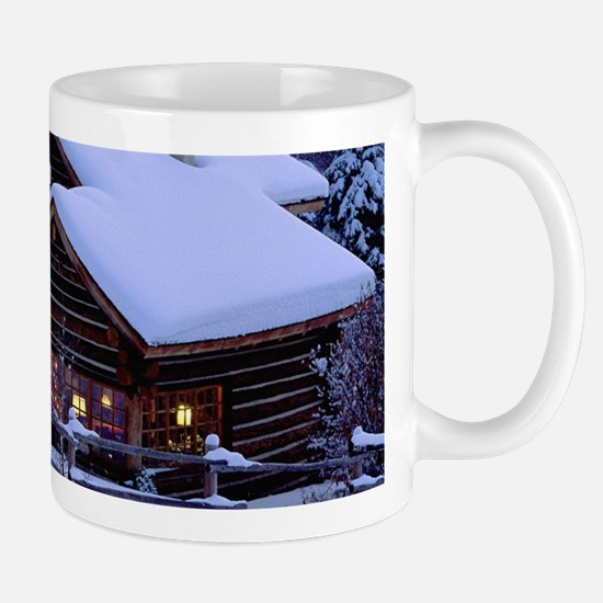 Log Cabin During Christmas Mugs