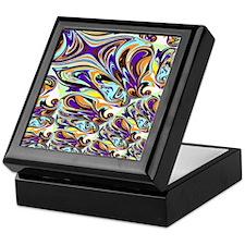 Abstract in Purple, Orange, Brown, an Keepsake Box