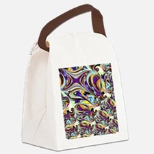 Abstract in Purple, Orange, Brown Canvas Lunch Bag