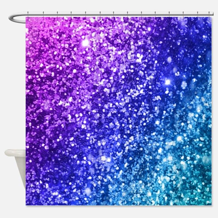 Purple Glitter Shower Curtains Purple Glitter Fabric