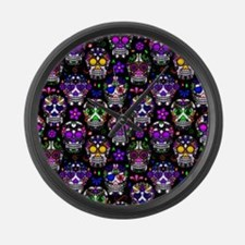 Candy Skulls Pattern Large Wall Clock