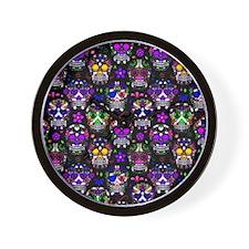 Candy Skulls Pattern Wall Clock