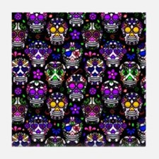 Candy Skulls Pattern Tile Coaster