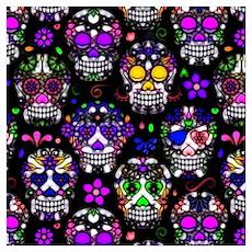 Candy Skulls Pattern Poster