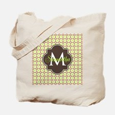 Monogrammed Brown Lime Geometric Octagon Tote Bag